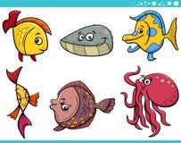 Sea life fish cartoon set. Cartoon Illustration of Funny Fish and Sea Life Animal Characters Set Royalty Free Stock Image