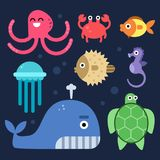Sea life. Fishes and others underwater mammals. Vector sea life underwater, fish and octopus, jellyfish and seahorse illustration royalty free illustration