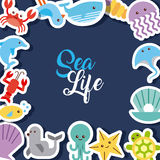 Sea life flat draw Stock Photo