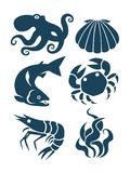 Sea life and food icons Stock Image