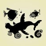 Sea life forms original woodcut Stock Photo