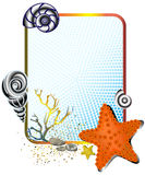 Sea life in frame with starfish. Vector illustration of marine life in a cute frame Stock Photography