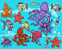 Sea life group cartoon Royalty Free Stock Photography