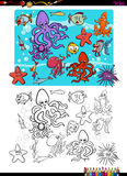 Sea life group coloring page. Cartoon Illustration of Sea Life Characters Coloring Book Activity Royalty Free Stock Images