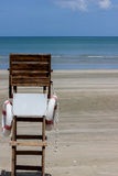 Sea and life guard chair. Life guard chair on the beach, selective focus Stock Image