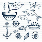 Sea life hand drawn doodle set. Nautical sketch collection with ship, dolphin, shells, fish anchors and helm Stock Image