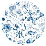 Sea life. Hand drawn set Royalty Free Stock Photo