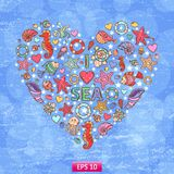 Sea life heart background Royalty Free Stock Image