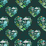 Sea life heart pattern. Seamless summer sea animals texture tiling pattern background Stock Photos