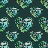 Sea life heart pattern. Seamless summer sea animals texture tiling pattern background stock illustration