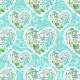 Sea life heart pattern. Seamless summer sea animals texture tiling pattern background Royalty Free Stock Images