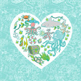 Sea life heart. Seamless summer sea animals texture tiling pattern background vector illustration