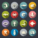 Sea life icon set Stock Image