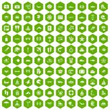 100 sea life icons hexagon green. 100 sea life icons set in green hexagon isolated vector illustration Royalty Free Stock Photo