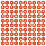 100 sea life icons hexagon orange Stock Photography