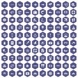 100 sea life icons hexagon purple. 100 sea life icons set in purple hexagon isolated vector illustration Royalty Free Stock Photography