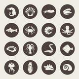 Sea life icons Royalty Free Stock Photo