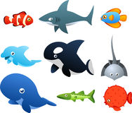 Sea Life icons. Second set of Sea Life icons, with nine different sea animals like, fish, shark, dolphin, whale  illustration Royalty Free Stock Images