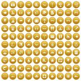 100 sea life icons set gold. 100 sea life icons set in gold circle isolated on white vector illustration royalty free illustration