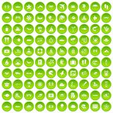 100 sea life icons set green. 100 sea life icons set in green circle isolated on white vectr illustration Stock Illustration