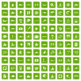 100 sea life icons set grunge green. 100 sea life icons set in grunge style green color isolated on white background vector illustration Royalty Free Stock Photos