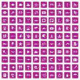 100 sea life icons set grunge pink. 100 sea life icons set in grunge style pink color isolated on white background vector illustration royalty free illustration