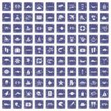 100 sea life icons set grunge sapphire. 100 sea life icons set in grunge style sapphire color isolated on white background vector illustration stock illustration
