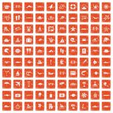100 sea life icons set grunge orange. 100 sea life icons set in grunge style orange color isolated on white background vector illustration Stock Image