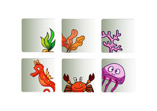Sea life icons set Stock Images