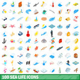 100 sea life icons set, isometric 3d style Royalty Free Stock Photos