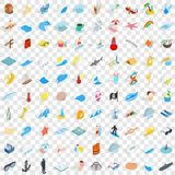 100 sea life icons set, isometric 3d style. 100 sea life icons set in isometric 3d style for any design vector illustration Royalty Free Illustration