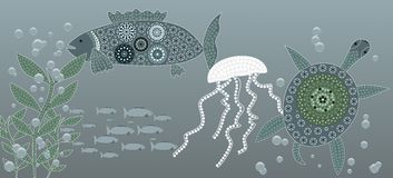 Sea life. An illustration based on aboriginal style of dot painting depicting sea life Royalty Free Stock Photography