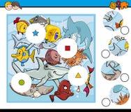 Sea life match pieces game Royalty Free Stock Photos