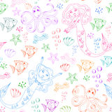 Sea life pattern. Seamless pattern with doodles of mermaids and other sea creatures Stock Photos