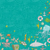 Sea life pattern background. Seamless summer sea animals texture tiling pattern background Vector Illustration