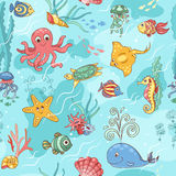 Sea life pattern blue Royalty Free Stock Images