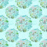 Sea life pattern. Seamless summer sea animals texture tiling pattern background Stock Image