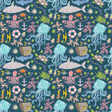 Sea life pattern. Seamless summer sea animals texture tiling pattern background Stock Photo