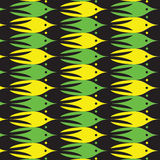 Sea life pattern with yellow, green and black fishes. Stock Photos