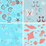 Sea life patterns collection 3 Stock Photos
