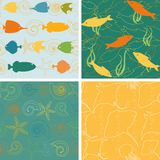 Sea life patterns collection 2 Royalty Free Stock Photo