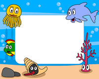 Sea Life Photo Frame [1]. Photo frame, post card or page for your scrapbook. Subject: a funny underwater scene with five cartoon marine animals (a jellyfish, a Royalty Free Stock Photos