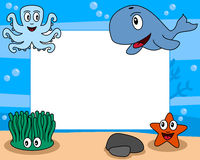 Sea Life Photo Frame [2]. Photo frame, post card or page for your scrapbook. Subject: a funny underwater scene with four cartoon marine animals (an octopus, a Stock Image