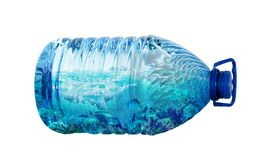 Sea life in plastic bottle isolated on white background. Ecology pollution concept. Environment disaster stock photography
