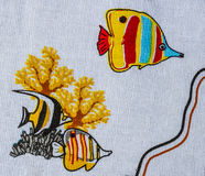 Sea life print fabric Stock Photos