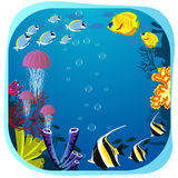 Sea life round frame with fish, jellyfish and coral Royalty Free Stock Photography
