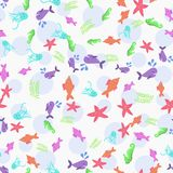 Sea life seamless marine animals seamless pattern. stock illustration