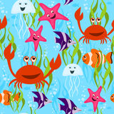 Sea life seamless pattern Stock Images
