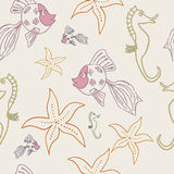 Sea life seamless pattern Royalty Free Stock Images