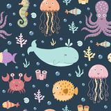Sea life seamless pattern. Royalty Free Stock Photography